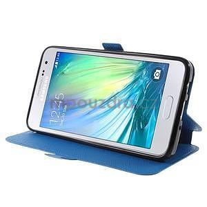 Klopové PU kožené pouzdro na Samsung Galaxy A3 - modré - 3