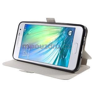 Klopové PU kožené pouzdro na Samsung Galaxy A3 - bílé - 3