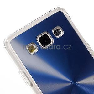Metalický plastový obal na Samsung Galaxy A3 - modrý - 3