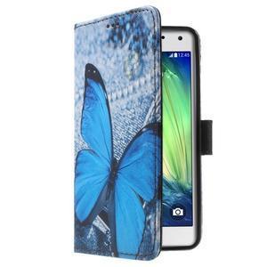 Koženkové pouzdro na Samsung Galaxy A5 (2016) - modrý motýl - 3