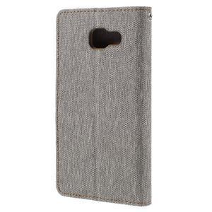 Canvas PU kožené/textilní pouzdro na Samsung Galaxy A5 (2016) - šedé - 3