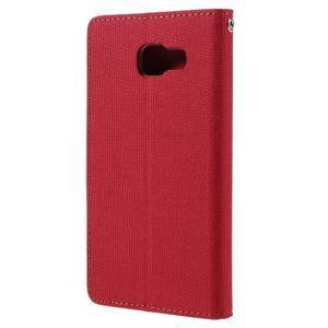 Canvas PU kožené/textilní pouzdro na Samsung Galaxy A5 (2016) - červené - 3