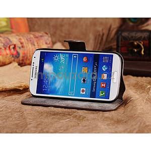 Peněženkové pouzdro z pravé kůže na Samsung Galaxy S4 - hnědá I - 3