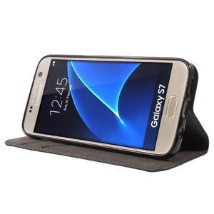 Leat PU kožený obal na Samsung Galaxy S7 - černý - 3