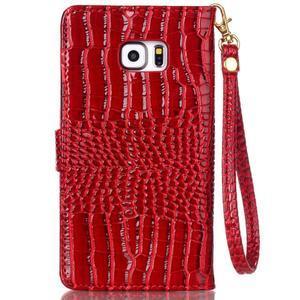 Croco styl peněženkové pouzdro na Samsung Galaxy S7 - červené - 3