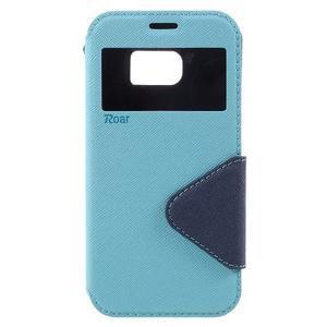 Diary pouzdro s okýnkem na Samsung Galaxy S7 - světlemodré - 3