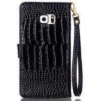 Croco styl peněženkové pouzdro na Samsung Galaxy S7 - černé - 3/6