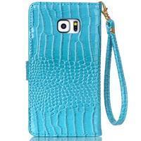 Croco styl peněženkové pouzdro na Samsung Galaxy S7 - modré - 3/6