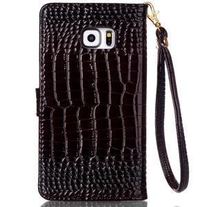 Croco styl peněženkové pouzdro na Samsung Galaxy S7 - hnědé - 3