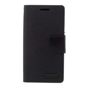 Canvas PU kožené/textilní pouzdro na Samsung Galaxy S7 - černé - 3