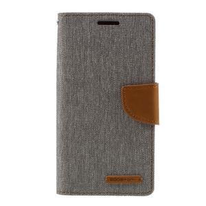 Canvas PU kožené/textilní pouzdro na Samsung Galaxy S7 - šedé - 3