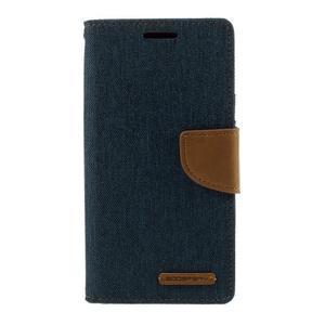 Canvas PU kožené/textilní pouzdro na Samsung Galaxy S7 - modré - 3