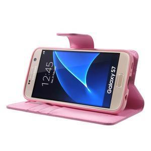 Sonata PU kožené pouzdro na Samsung Galaxy S7 - růžové - 3