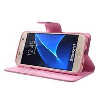 Sonata PU kožené pouzdro na Samsung Galaxy S7 - růžové - 3/7