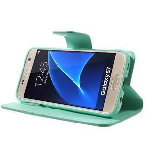 Sonata PU kožené pouzdro na Samsung Galaxy S7 - azurové - 3