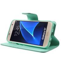 Sonata PU kožené pouzdro na Samsung Galaxy S7 - azurové - 3/7