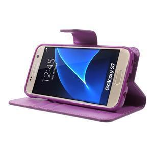 Sonata PU kožené pouzdro na Samsung Galaxy S7 - fialové - 3