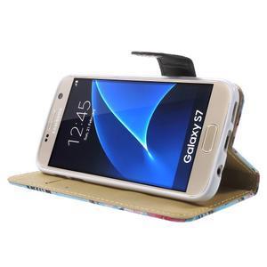 Flower pouzdro na mobil Samsung Galaxy S7 - modré pozadí - 3
