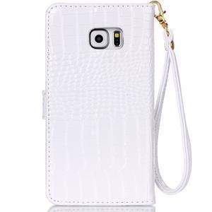Croco styl peněženkové pouzdro na Samsung Galaxy S7 - bílé - 3