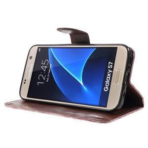Květinové pěněženkové pouzdro na Samsung Galaxy S7 - růžové - 3