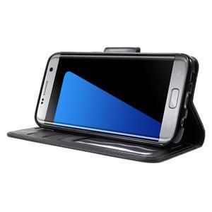 Rich PU kožené pouzdro na Samsung Galaxy S7 edge - černé - 3
