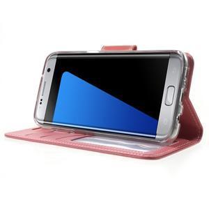 Rich PU kožené pouzdro na Samsung Galaxy S7 edge - růžové - 3