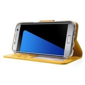 Rich PU kožené pouzdro na Samsung Galaxy S7 edge - žluté - 3