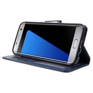 Rich PU kožené pouzdro na Samsung Galaxy S7 edge - tmavěmodré - 3