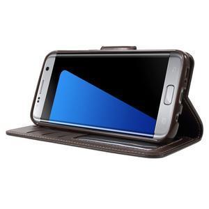 Rich PU kožené pouzdro na Samsung Galaxy S7 edge - hnědé - 3