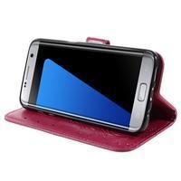 Butterfly PU kožené pouzdro na Samsung Galaxy S7 edge - rose - 3/7