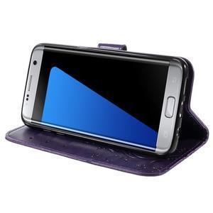Butterfly PU kožené pouzdro na Samsung Galaxy S7 edge - fialové - 3