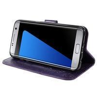 Butterfly PU kožené pouzdro na Samsung Galaxy S7 edge - fialové - 3/7