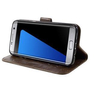 Butterfly PU kožené pouzdro na Samsung Galaxy S7 edge - coffee - 3