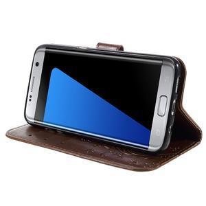 Butterfly PU kožené pouzdro na Samsung Galaxy S7 edge - hnědé - 3