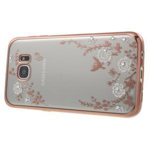Nice gelový obal s kamínky na Samsung Galaxy S7 edge - bílé květiny - 3