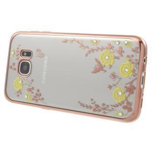 Nice gelový obal s kamínky na Samsung Galaxy S7 edge - žluté květiny - 3