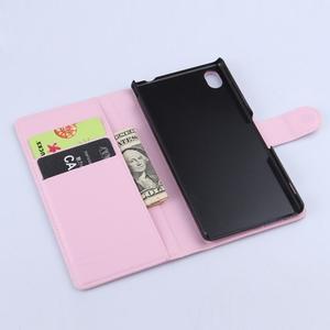 Světle růžové PU kožené pouzdro na Sony Xperia M4 Aqua - 3