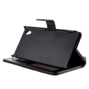 Černé PU kožené pouzdro aligátor pro Sony Xperia M4 Aqua - 3