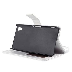 Bílé PU kožené pouzdro aligátor pro Sony Xperia M4 Aqua - 3