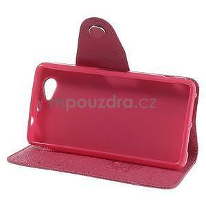 Peněženkové PU kožené pouzdro na Sony Xperia Z1 Compact - rose - 3