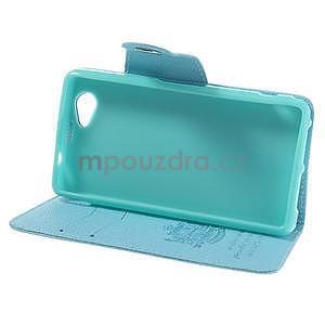 Peněženkové PU kožené pouzdro na Sony Xperia Z1 Compact - modré - 3