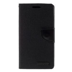 Canvas PU kožené/textilní pouzdro na Sony Xperia Z5 - černé - 3