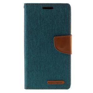 Canvas PU kožené/textilní pouzdro na Sony Xperia Z5 - zelené - 3