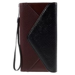 Stylové peněženkové pouzdro Sony Xperia Z5 - černé/hnědé - 3