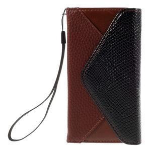 Stylové peněženkové pouzdro na Sony Xperia Z5 Compact - hnědé/černé - 3