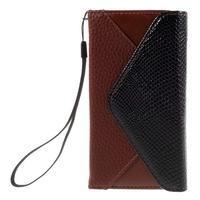 Stylové peněženkové pouzdro na Sony Xperia Z5 Compact - hnědé/černé - 3/7