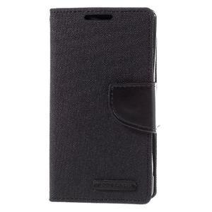 Canvas PU kožené/textilní pouzdro na Sony Xperia Z5 Compact - černé - 3