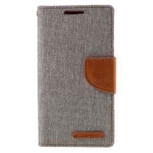 Canvas PU kožené/textilní pouzdro na Sony Xperia Z5 Compact - šedé - 3