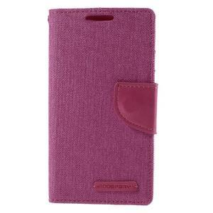 Canvas PU kožené/textilní pouzdro na Sony Xperia Z5 Compact - rose - 3