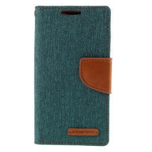 Canvas PU kožené/textilní pouzdro na Sony Xperia Z5 Compact - zelené - 3